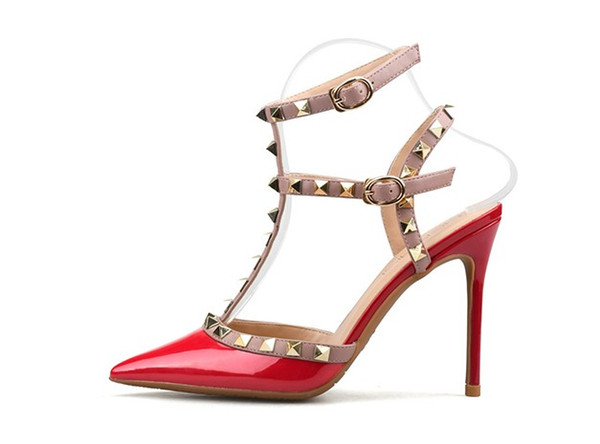 Hot Sale-Designer Pointed Toe Strap with Studs high heels Patent Leather rivets Sandals Women Shoes high heel dress Shoes