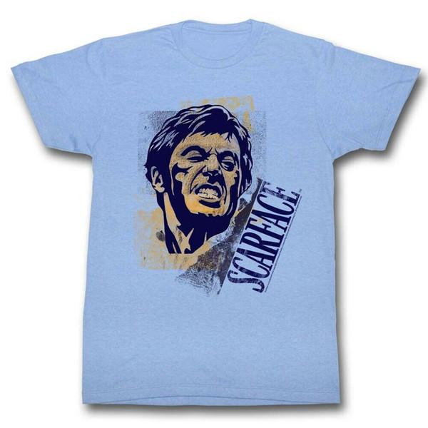 SCARFACE T-Shirt manica corta da uomo LIGHT BLUE HEATHER SAY CHEESE Uomo Donna Unisex Fashion tshirt Spedizione gratuita nero