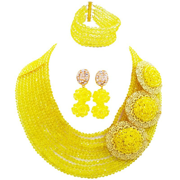 New Design Yellow Classic Women Engagement Crystal Necklace Earrings Bracelet Sets 10C-C3PH-21