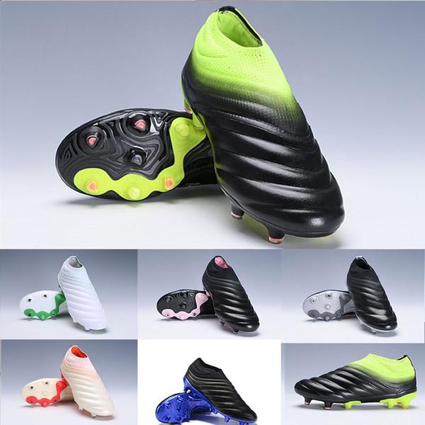2019 mais novo mens copa 19 + fg chuteiras de futebol de alta qualidade Copa Slip-On Ondas Laceless projeto Preto Branco Verde sapatos de futebol Botas 38-45