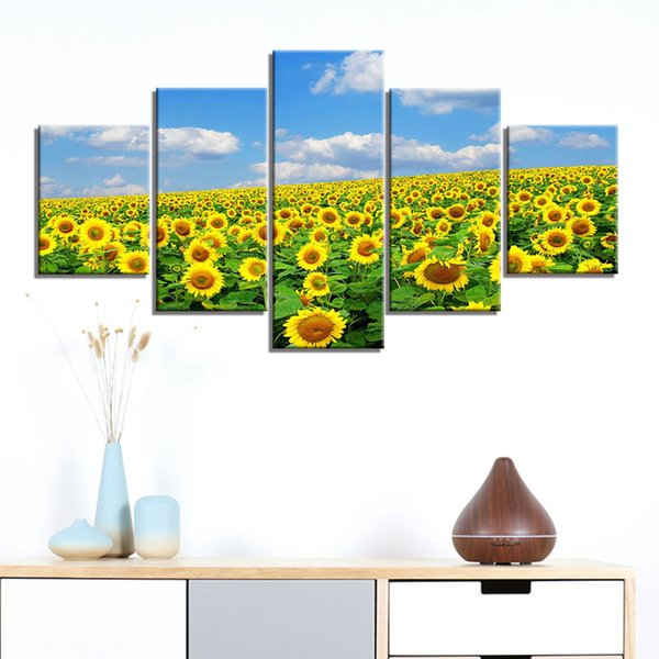 Poster Sanat Resim Tuval Poster Baskı 5 Paneller Ayçiçeği Resim Ev Dekorasyonu Wall Art Tuval Boyama