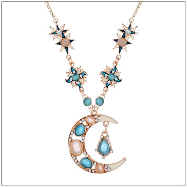 Gold Chain Long Necklace Women Sweet Lovely Space Star Rhinestone Opal Sun Moon Pendants Necklaces Fashion Jewelry Gift