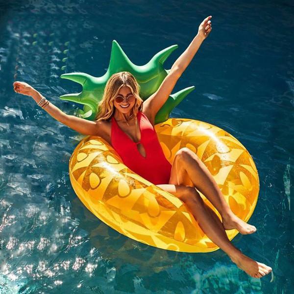 Aufblasbare Wasser-Schwimmbett-Ananas-Schwimmring-Schwimmreihe Double Leaf Super Large Pineapple Water Air Bed