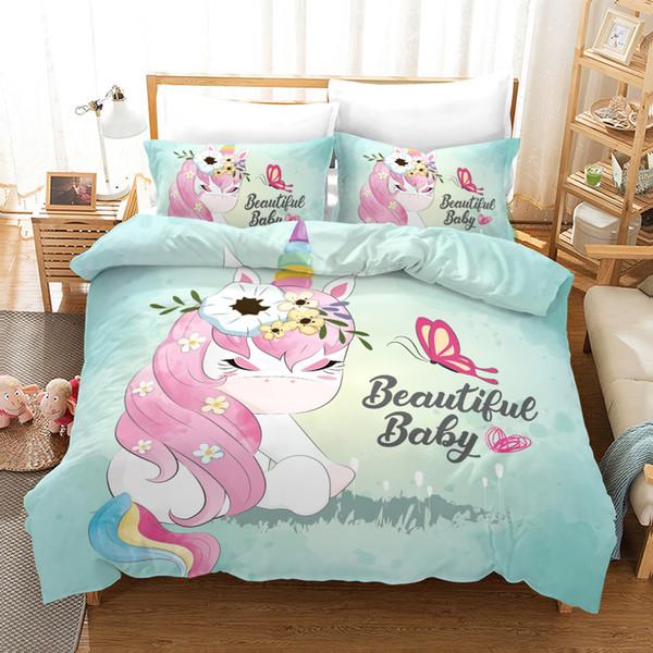 Conjunto de cama de unicórnio 3d Quilt Capa e Fronhas Conjuntos de Cama conjuntos de cama consolador queen size