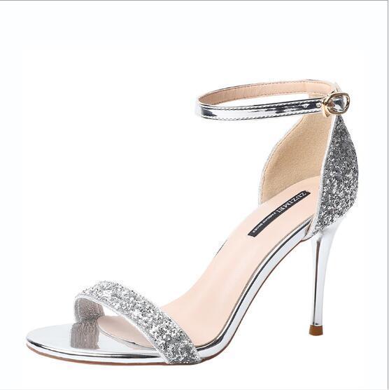Été 2019 nouvelles chaussures pour femmes paillettes à la mode avec des chaussures hautes sandales à talon pour femmes chaussures pour femmes