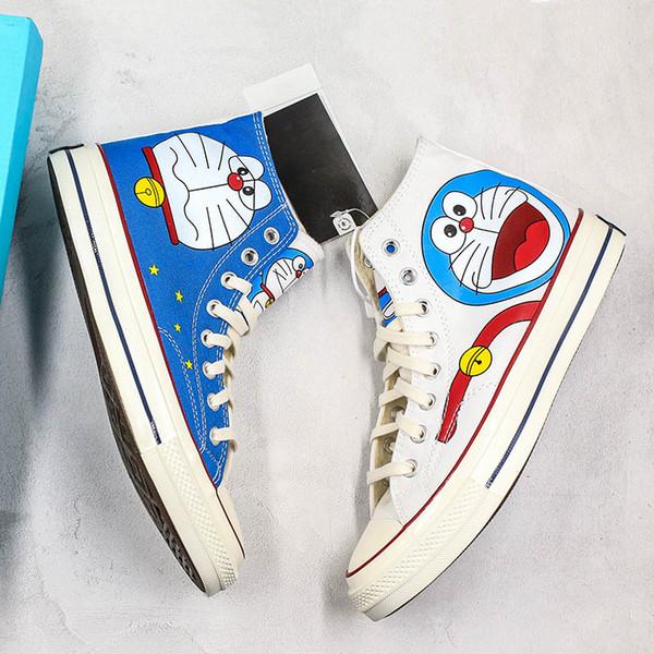 Nuovo carino DORAEMON X Convase scarpe in tela degli anni '70 Cartoon White Blue High Limited Sneakers casual Scarpe firmate