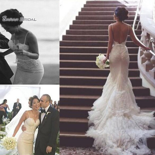 best selling 2020 Spaghetti Backless Mermaid Lace Appliques Bride Dress Appliques Sleeveless Bridal Gown Wedding robes de mariée