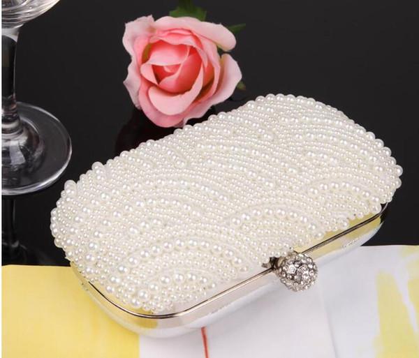Hand made Crystal Evening Clutch Bag Rhinestone Wedding Purse Party Handbag Lady clutches Diamond Pearl Beads Female Chains Bag