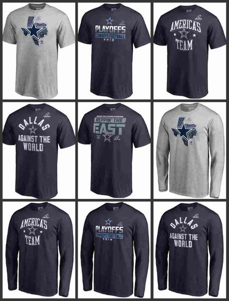 T-shirt 2019 New Dallas Men Cowboys Pro Line de Fanatics T-shirt à manches longues de marque des Playoffs State