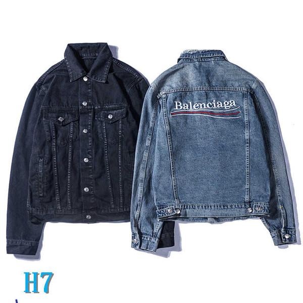 Vente en gros Hommes Marque Vestes Jeans Denim Veste Lettre Mode hommes et femmes de style vintage Selvedge Jean Manteaux Marque Vêtements Denim JacketH7