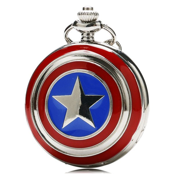 American Captain Star Shield Cover Slim Marvel Superhero Series Pocket Watch Necklace Cool Kids Clock Special Chidren Fans Gift