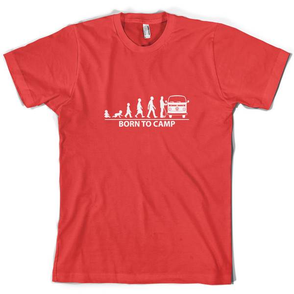 Born To Camp (Bay Window) Mens T-Shirt Camper Van Bus 10 Colours Funny free shipping Unisex Casual