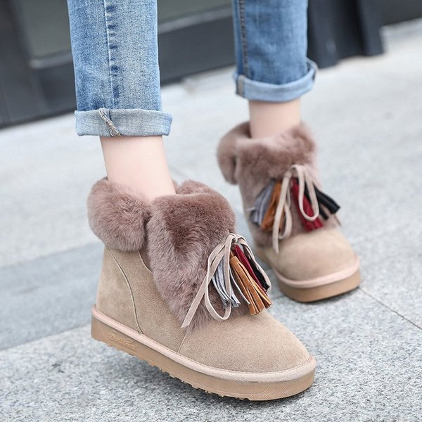 Women Ankle Boots flock Leather Women Snow Boots Warm Winter Shoes Plush Female Flats Round Toe Causal shoes
