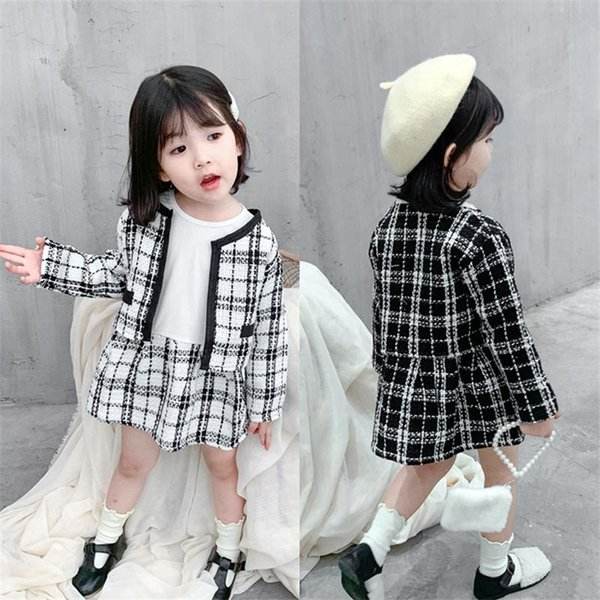 2019 neonata plaid di modo che coprono insieme Jacket + Dress, capretti delle ragazze eleganti di autunno della molla vestiti dei vestiti dei bambini Outfit
