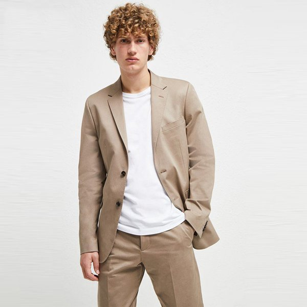 Summer khaki Men Suits For Wedding Suits Bridegroom Groomsmen Casual Slim Fit Groom Wear Blazer Tuxedos 2Pieces Best Man Prom Jacket+Pants