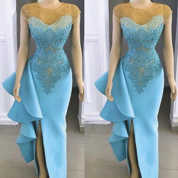 2019 Sexy Side Split Long Evening Dresses Ruffles Party Dresses Lace Appliques Real Image Sea Blue Sexy Mermaid Prom Gowns Black Evening Dresses Plus