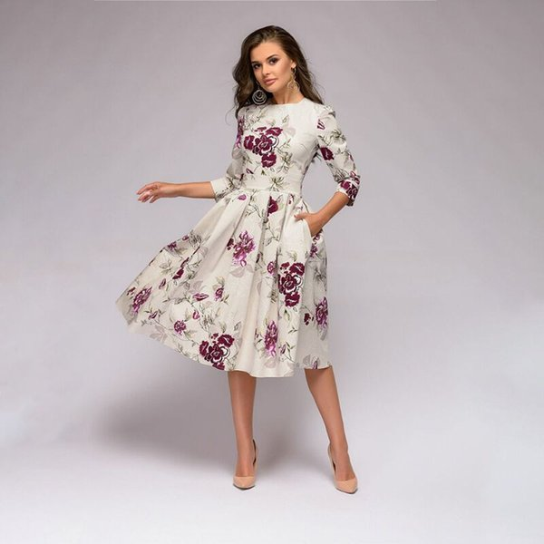 Compre Elegent A Line Dress 2018 Vintage Print Party Vestidos Tres ...