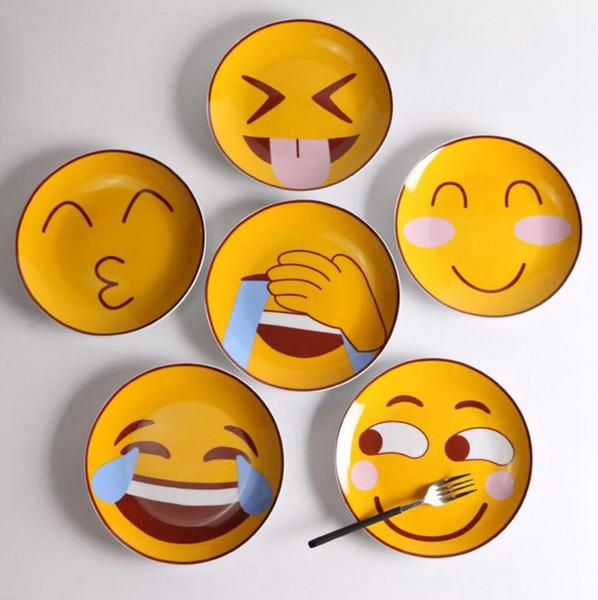 Творческий Emoji магнезия фарфор плоские тарелки 8 дюймов мультфильм шаблон керамическая посуда салат СУШИ ТОРТ круглые блюда Чжао