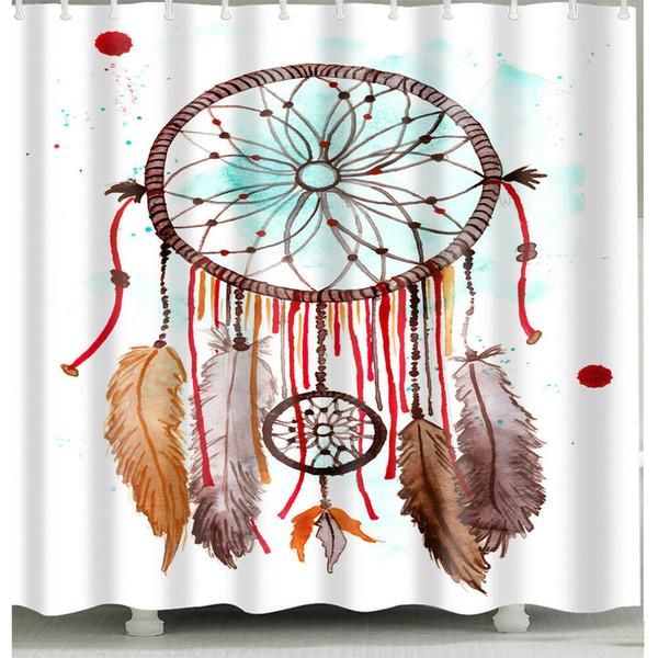 Ветер куранты занавеска Прочные ткани Плесень Аксессуары для ванной комнаты Креативный с 12 Крючки 180x180cm 1106