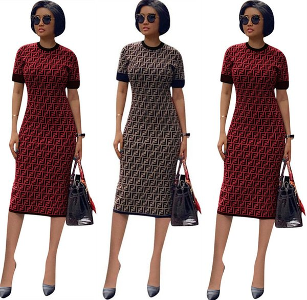 best selling 2019 Women FF Full Long Slim Dress Luxury Designer Summer Dresses Brand Short Sleeve Bodycon Skirt FENDS Womens Clothing Party Dresses C6501