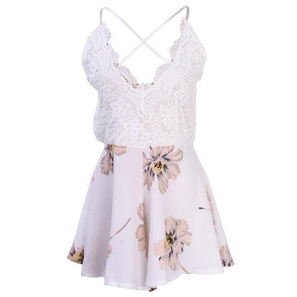 Women Dress Backless Ladies Club Wear Bodycon Party Romper Bodysuit Lace Patchwork Floral Print White Sling Mini Vestido