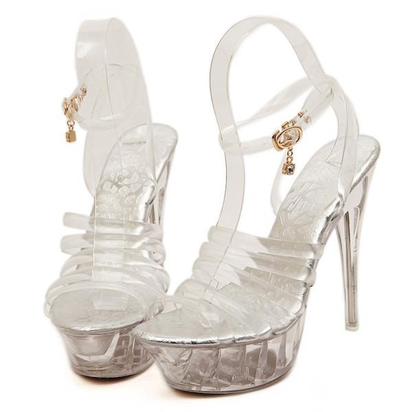 Tubo de aço Dançando Sapatos de Plataforma Transparente Mulheres 2019 Verão transparente Sandálias Peep Toe Boate Salto Alto Sandálias de Salto Alto Tamanho 43
