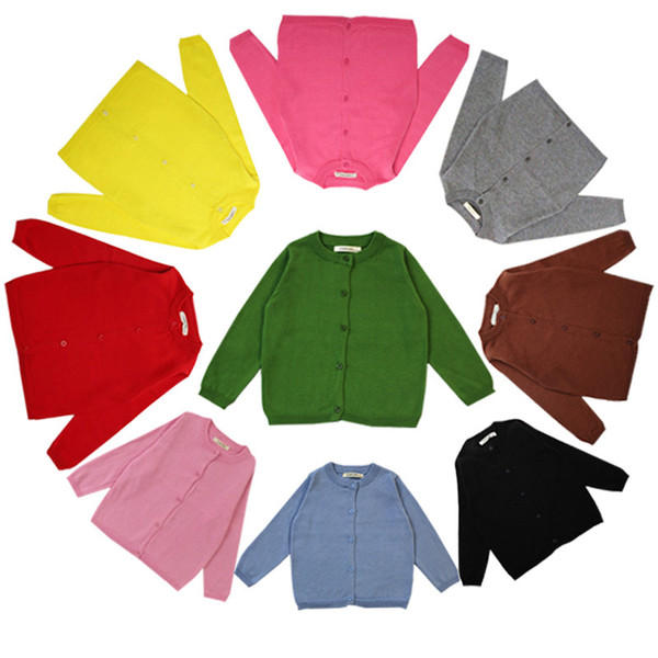 Everweekend Sweet Kids Girls Candy Color Knitted Sweater Cardigans Multi Color Cute Children Spring Autumn Fashion Jackets
