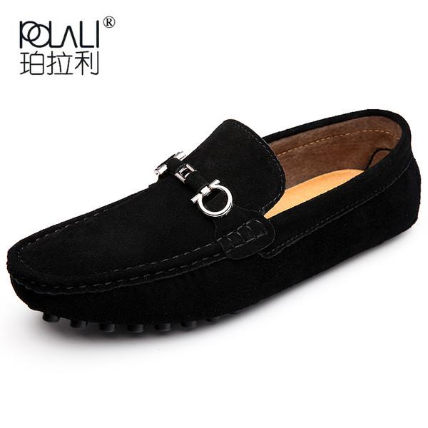 2019 Nuove scarpe da uomo di grandi dimensioni scarpe da guida casuali in pelle comode mocassini da uomo nero grigio slip on scarpe da uomo