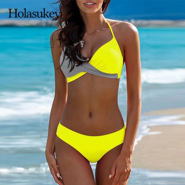 HolaSukey 2018 Sexy Bikinis Set halter Top Bikini New Swimsuit Women Chest CrossSwimwear Women Summer Bathing Suit Biquini