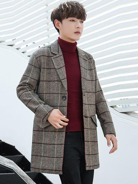 2018 New Men's Casual Plaid Wool Coat Erkek Mont Fashion Trend Long Coat Jacket Brand Clothes Abrigo Hombre Casaco Masculino