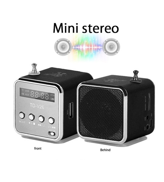 TD-V26 Portable Radio Speaker with LCD Screen Micro SD / TF MP3 FM Digital Music Player for Laptop Powerful