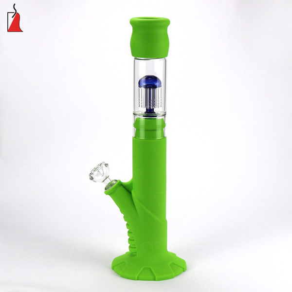 Colorful Hookahs Silicone Bongs with glass downstem silicone water pipes dab rig 18.8 mm joint all Clear 14.4mm Filter Bubbler
