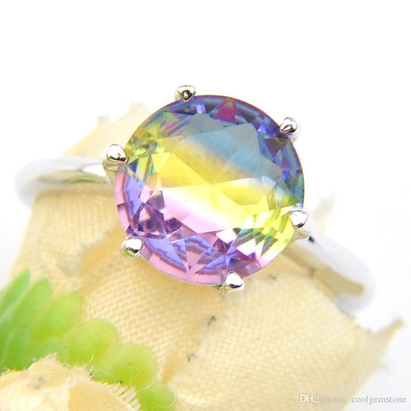 aaaaajewelry 6 PCS/Lot New Round Rainbow Bi Colored Tourmaline Zircon Gems 925 Sterling Silver Plated Women Wedding Jewelry USA Size 7 8 9