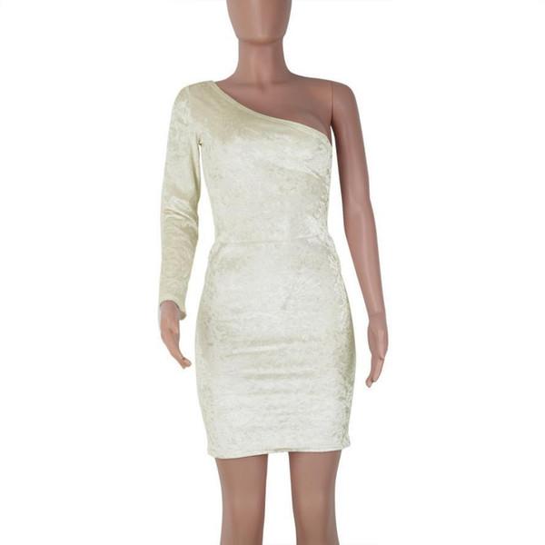 Women Long Sleeve Off The Shoulder Dress Evening Party Mini Dress Velvet girl vestidos de fiesta Solid Long Sleeve dress solid