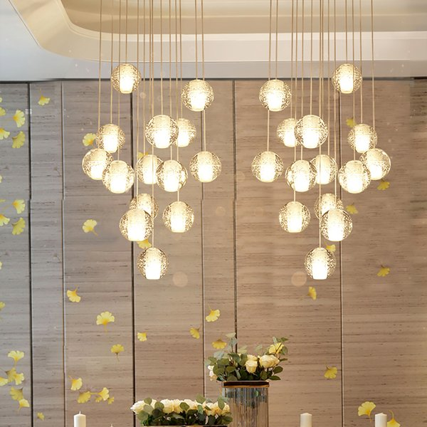 Modern led large staircase crystal chandelier lighting fixtures hanging  lustre cristal long loft glass balls chandelier lamp