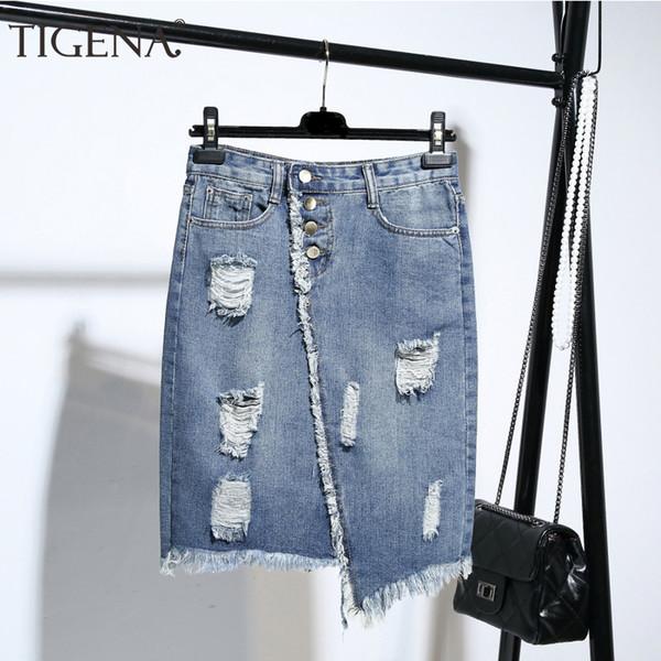 finest selection most popular top fashion 2019 TIGENA Plus Size Fashion Midi Denim Skirt Women 2019 Summer Light Blue  Hole Ripped Jeans Skirt Female Button Tassel School Skirt V191129 From ...
