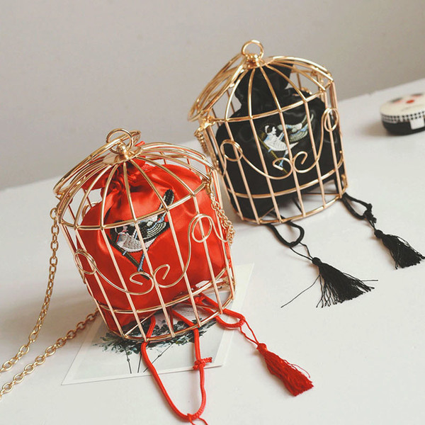 Women Stylish Metal Birdcage Handbag Mini Bird Embroidery Crossbody Bag good quality
