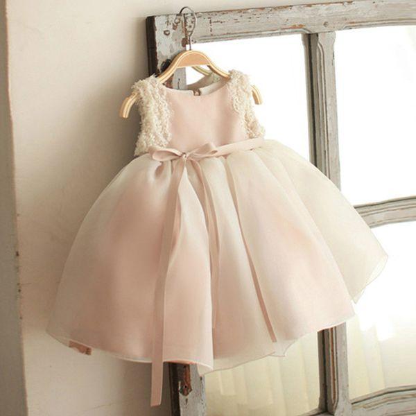 New Flower Girls Dresses Kids Sleeveless Lace Tulle Princess Dresses Father Daughter Ball Gown Girls Princess Dress