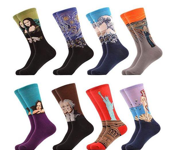 Las mujeres de los hombres calcetines de tripulación Divertido Casual Peinados calcetines de algodón Pintura famosa Arte Impreso Casual Calcetines largos de Navidad Calcetería Calcetería