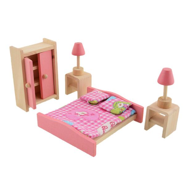Salle de bains en bois Maison de poupée en bois Meubles Chambre à coucher Fille Jouez à faire semblant Jouet Mini lit double Meubles Maison de poupée Miniature Jouet Enfant Gi ...