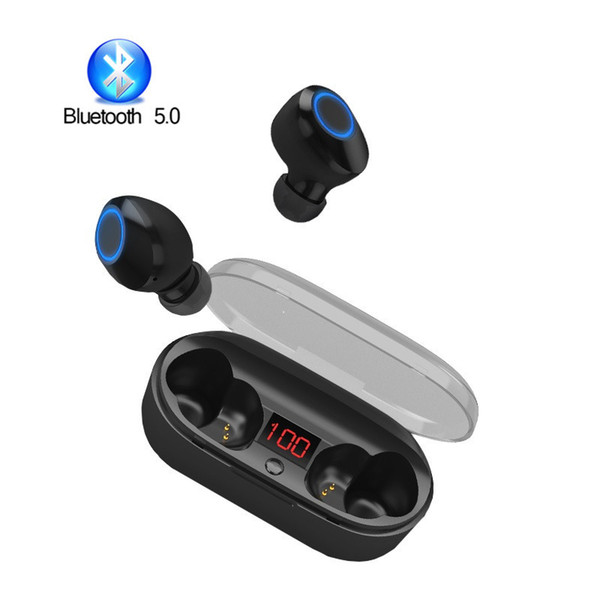 TWS Bluetooth Earphones V5.0 Mini Wireless Earbuds Business Stereo Sound Headsets with Mic and Charger Box for iPhone Android