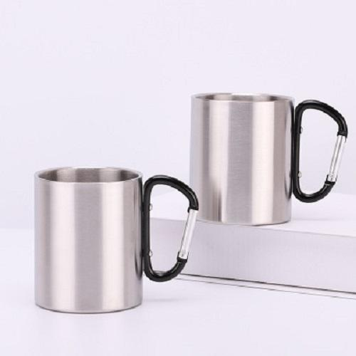 Outdoor Drinking Mug Stainless Steel Double Wall Camping Mug Outdoor Portable Cycling Mountaineering Cup With Carabiner Hook Free Shipping