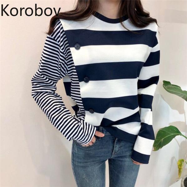 Venda Por Atacado coreano listrado irregular manga comprida blusas de retalhos vintage o pescoço ol básico sueter mujer harajuku malha top 78994