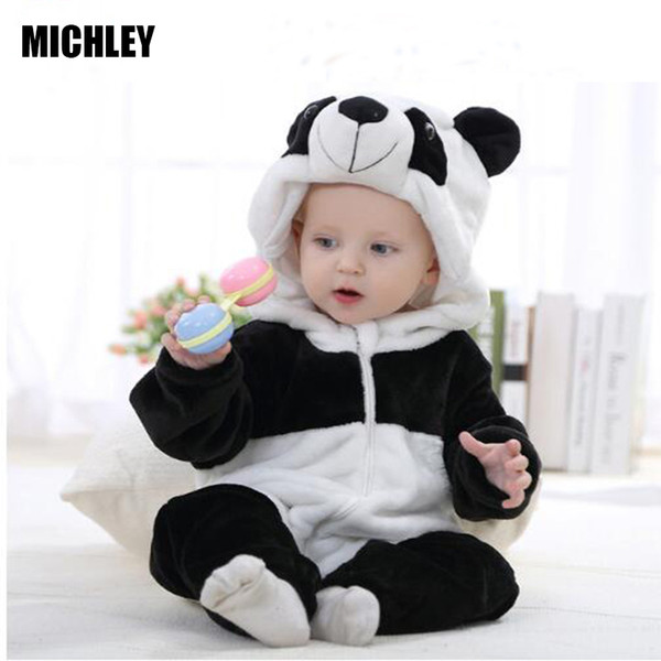 Michley Infant Romper Baby Boys Girls Jumpsuit Newborn Bebe Clothing Hooded Toddler Baby Clothes Cute Panda Romper Baby Costumes J190525