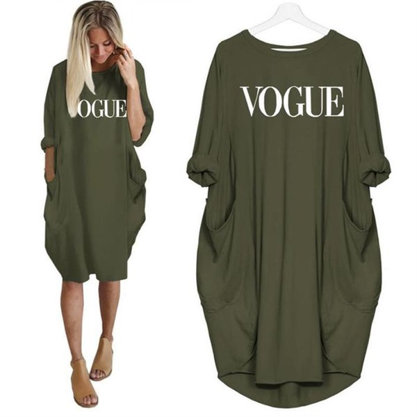 2019 New Fashion Vogue Letters Stampa T-Shirt Per donne Pocket Top Tshirt T-Shirt Ritagliate Graphic Tees Donna Streetwear Donna Y19051104