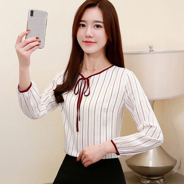 0f6e43ba268 2019 новые женские полосатые шифоновые блузки женские офисные женские топы  женские футболки с бантом плюс размер