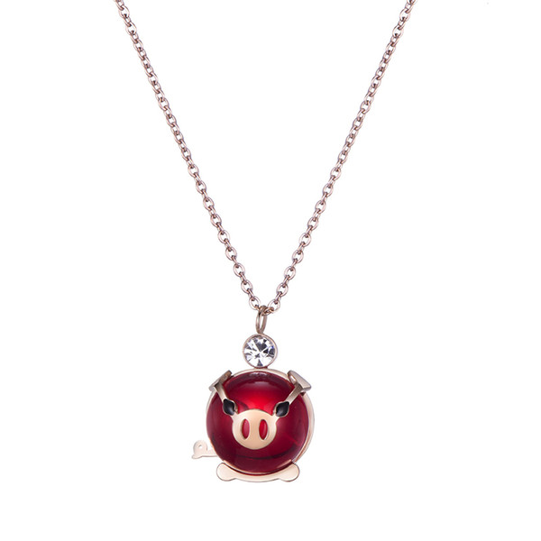 """Valentine's Day Birthday Gifts Cute Animal Jewelry Pink Cubic Zirconia Love Heart Pig Pendant Necklace for Women, 16"""" (Red Pig)"""