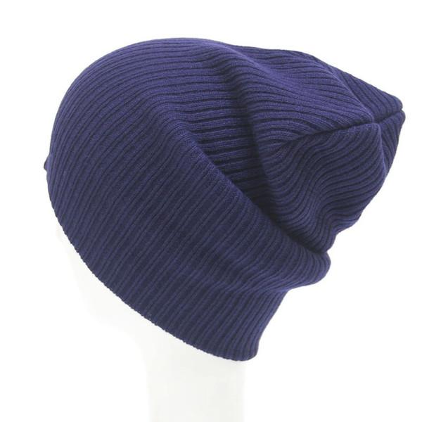 Navy Blue Dark Green Black Knit Hat Crochet Mens Slouchy Beanie Winter Skull Caps for Men and Women