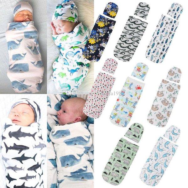 Newborn Photography Prop Newborn Baby Cute Swaddle Blanket Sleeping Swaddle Muslin Wrap+Hat Anime 2pcs Casual Accessories