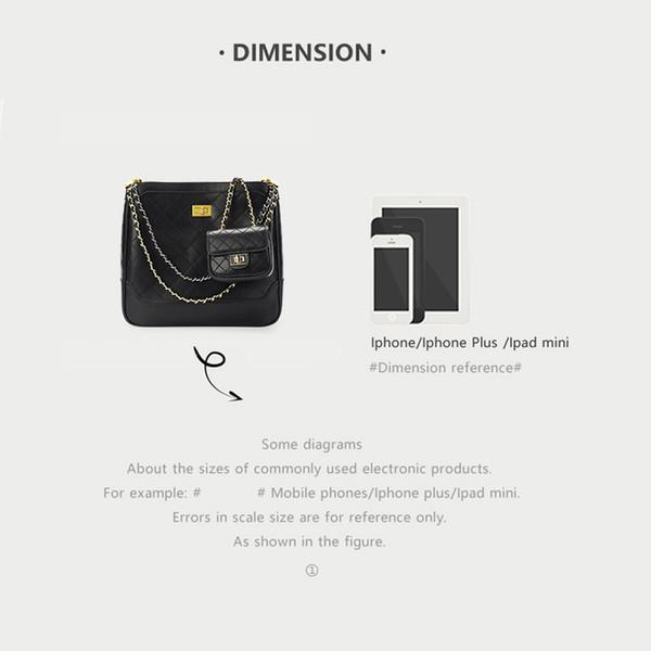 2019 여름 새로운 대용량 버킷 가방 퀼팅 체인 가방 크기 호 사진 어깨에 매는 가방 메신저 가방 여성